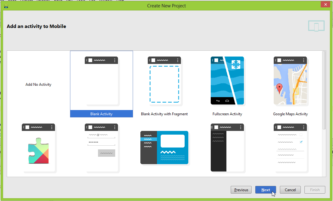 """Android Studio """"Add an activity to Mobile"""" screen"""