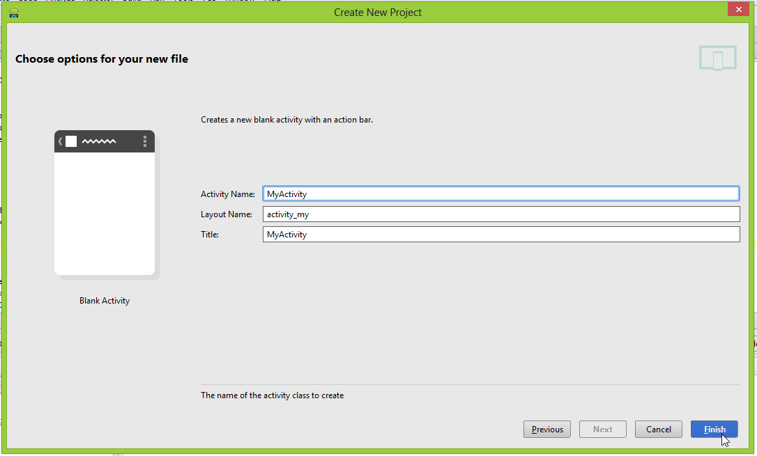 "Android Studio ""New file options"" screen"