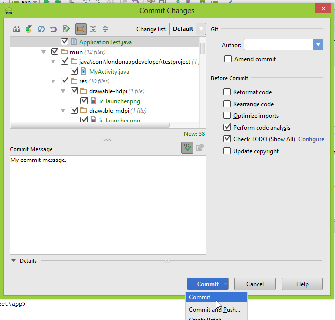 "Android Studio ""Commit Changes"" option"
